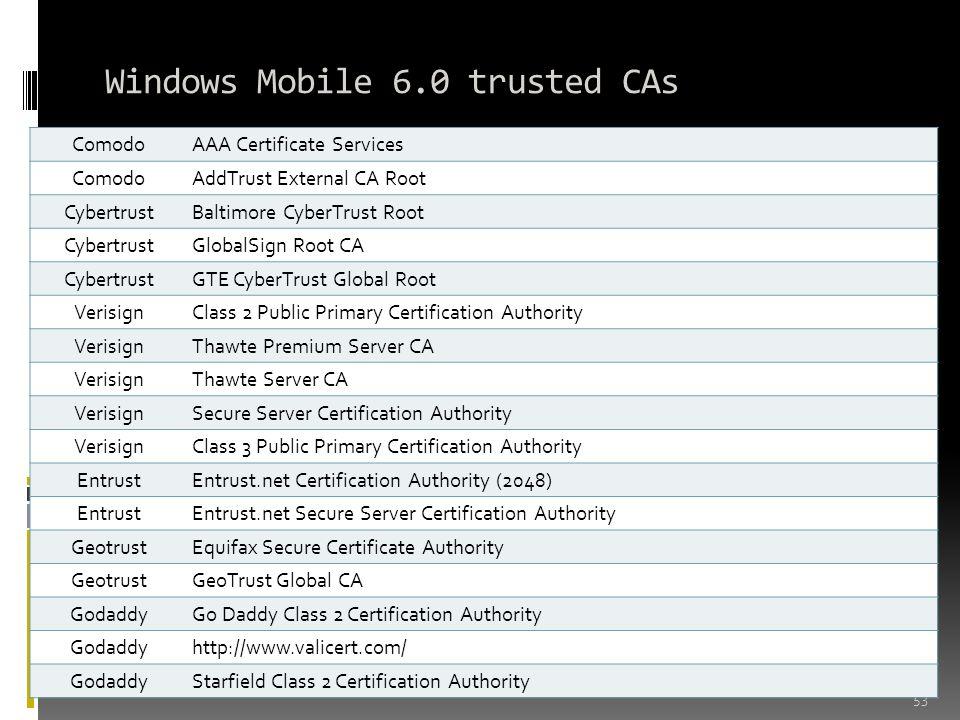 Windows Mobile 6.0 trusted CAs 53 ComodoAAA Certificate Services ComodoAddTrust External CA Root CybertrustBaltimore CyberTrust Root CybertrustGlobalS