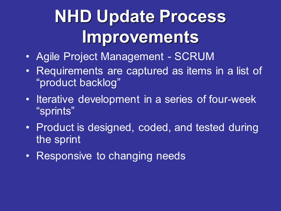 "Agile Project Management - SCRUM Requirements are captured as items in a list of ""product backlog"" Iterative development in a series of four-week ""spr"