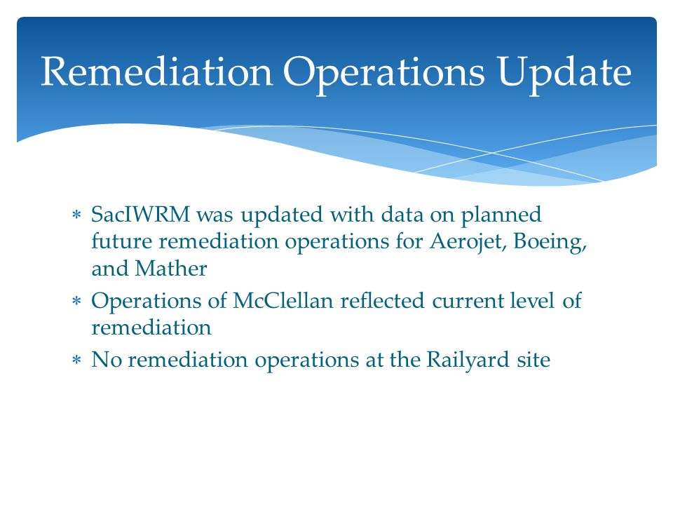  SacIWRM was updated with data on planned future remediation operations for Aerojet, Boeing, and Mather  Operations of McClellan reflected current level of remediation  No remediation operations at the Railyard site Remediation Operations Update