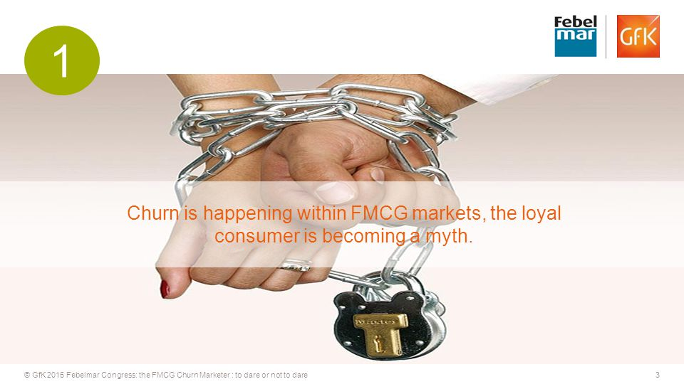 3© GfK 2015 Febelmar Congress: the FMCG Churn Marketer : to dare or not to dare Churn is happening within FMCG markets, the loyal consumer is becoming a myth.