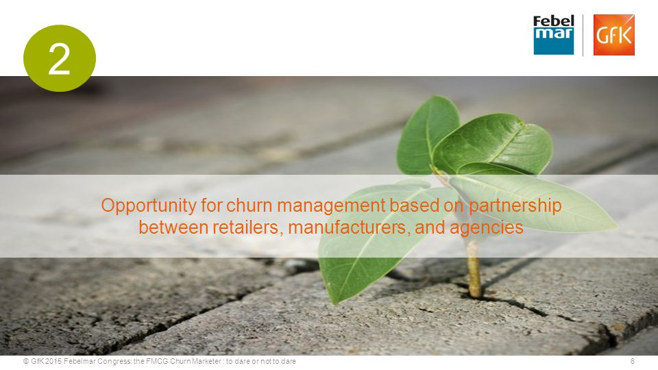 6© GfK 2015 Febelmar Congress: the FMCG Churn Marketer : to dare or not to dare Opportunity for churn management based on partnership between retailers, manufacturers, and agencies 2