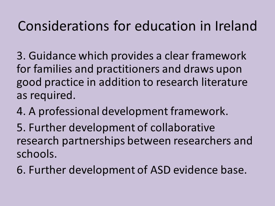 Considerations for education in Ireland 3.
