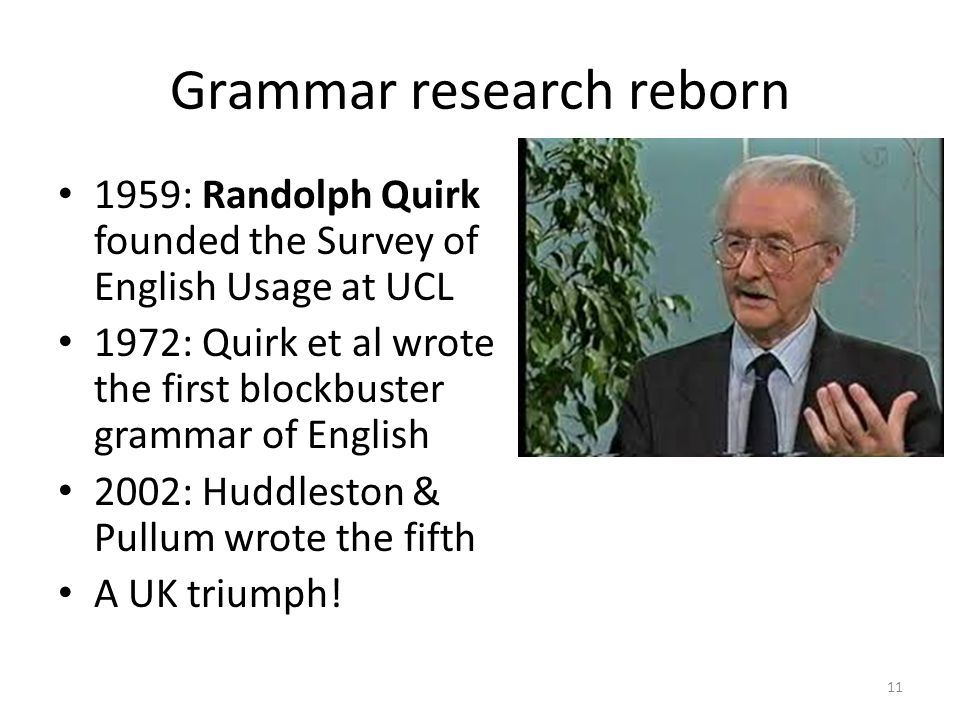 Grammar research reborn 1959: Randolph Quirk founded the Survey of English Usage at UCL 1972: Quirk et al wrote the first blockbuster grammar of English 2002: Huddleston & Pullum wrote the fifth A UK triumph.