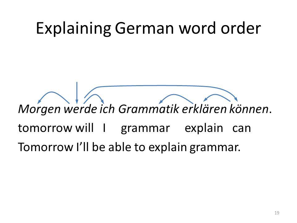 Explaining German word order Morgen werde ich Grammatik erklären können. tomorrow will I grammar explain can Tomorrow I'll be able to explain grammar.