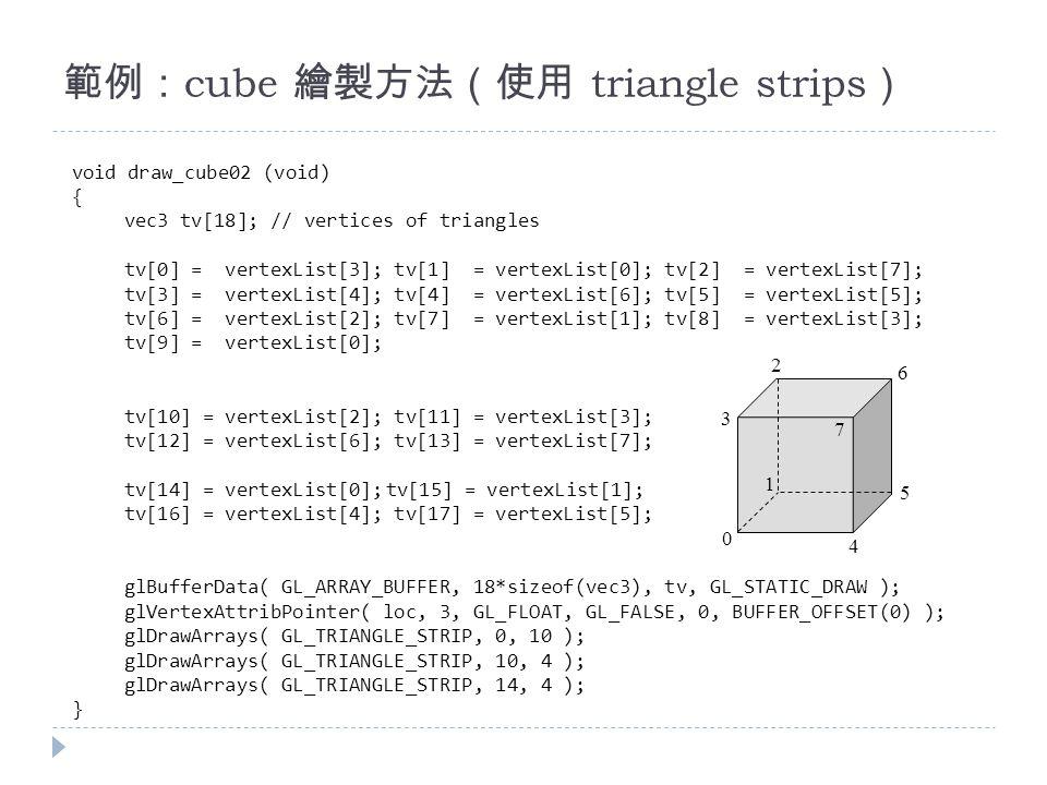 範例: cube 繪製方法(使用 triangle strips ) void draw_cube02 (void) { vec3 tv[18]; // vertices of triangles tv[0] = vertexList[3]; tv[1] = vertexList[0]; tv[2] = vertexList[7]; tv[3] = vertexList[4]; tv[4] = vertexList[6]; tv[5] = vertexList[5]; tv[6] = vertexList[2]; tv[7] = vertexList[1]; tv[8] = vertexList[3]; tv[9] = vertexList[0]; tv[10] = vertexList[2]; tv[11] = vertexList[3]; tv[12] = vertexList[6]; tv[13] = vertexList[7]; tv[14] = vertexList[0];tv[15] = vertexList[1]; tv[16] = vertexList[4]; tv[17] = vertexList[5]; glBufferData( GL_ARRAY_BUFFER, 18*sizeof(vec3), tv, GL_STATIC_DRAW ); glVertexAttribPointer( loc, 3, GL_FLOAT, GL_FALSE, 0, BUFFER_OFFSET(0) ); glDrawArrays( GL_TRIANGLE_STRIP, 0, 10 ); glDrawArrays( GL_TRIANGLE_STRIP, 10, 4 ); glDrawArrays( GL_TRIANGLE_STRIP, 14, 4 ); } 0 1 2 3 4 5 6 7