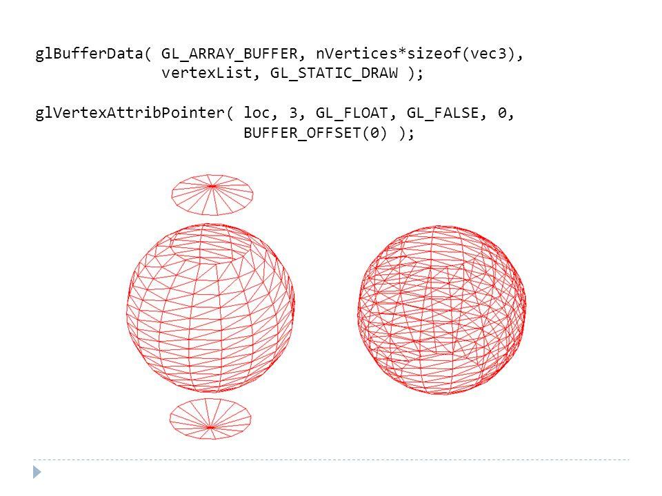 glBufferData( GL_ARRAY_BUFFER, nVertices*sizeof(vec3), vertexList, GL_STATIC_DRAW ); glVertexAttribPointer( loc, 3, GL_FLOAT, GL_FALSE, 0, BUFFER_OFFSET(0) );