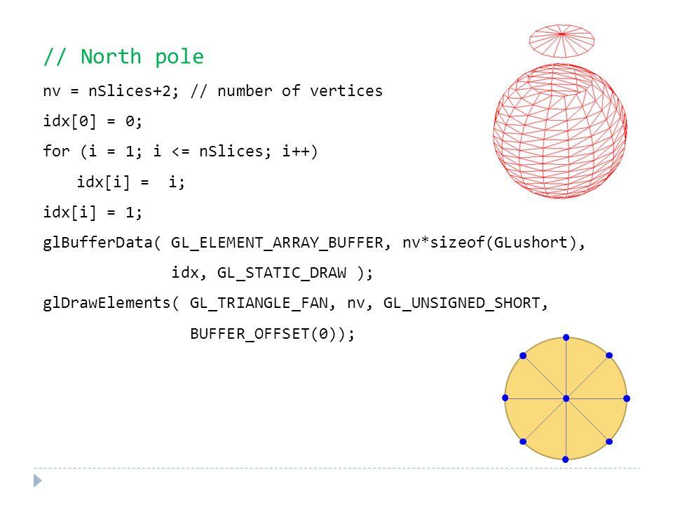 // North pole nv = nSlices+2; // number of vertices idx[0] = 0; for (i = 1; i <= nSlices; i++) idx[i] = i; idx[i] = 1; glBufferData( GL_ELEMENT_ARRAY_BUFFER, nv*sizeof(GLushort), idx, GL_STATIC_DRAW ); glDrawElements( GL_TRIANGLE_FAN, nv, GL_UNSIGNED_SHORT, BUFFER_OFFSET(0));