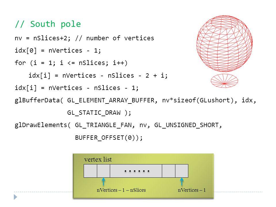 // South pole nv = nSlices+2; // number of vertices idx[0] = nVertices - 1; for (i = 1; i <= nSlices; i++) idx[i] = nVertices - nSlices - 2 + i; idx[i] = nVertices - nSlices - 1; glBufferData( GL_ELEMENT_ARRAY_BUFFER, nv*sizeof(GLushort), idx, GL_STATIC_DRAW ); glDrawElements( GL_TRIANGLE_FAN, nv, GL_UNSIGNED_SHORT, BUFFER_OFFSET(0)); vertex list nVertices – 1 – nSlicesnVertices – 1