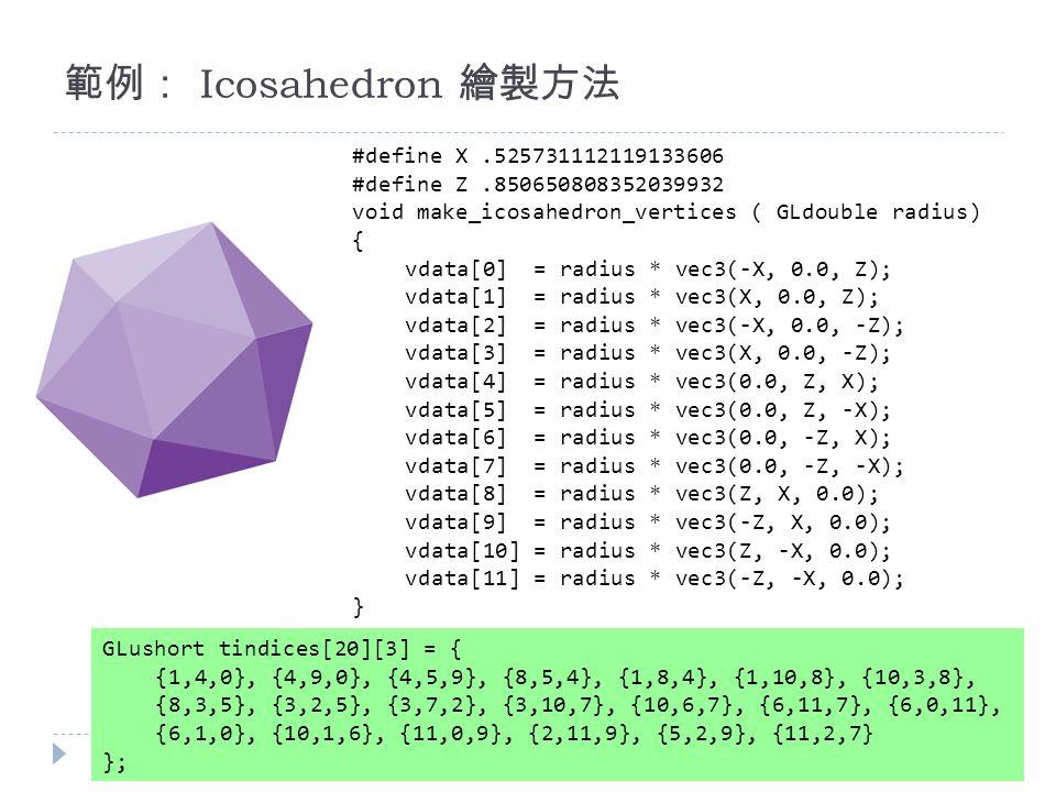 範例: Icosahedron 繪製方法 #define X.525731112119133606 #define Z.850650808352039932 void make_icosahedron_vertices ( GLdouble radius) { vdata[0] = radius * vec3(-X, 0.0, Z); vdata[1] = radius * vec3(X, 0.0, Z); vdata[2] = radius * vec3(-X, 0.0, -Z); vdata[3] = radius * vec3(X, 0.0, -Z); vdata[4] = radius * vec3(0.0, Z, X); vdata[5] = radius * vec3(0.0, Z, -X); vdata[6] = radius * vec3(0.0, -Z, X); vdata[7] = radius * vec3(0.0, -Z, -X); vdata[8] = radius * vec3(Z, X, 0.0); vdata[9] = radius * vec3(-Z, X, 0.0); vdata[10] = radius * vec3(Z, -X, 0.0); vdata[11] = radius * vec3(-Z, -X, 0.0); } GLushort tindices[20][3] = { {1,4,0}, {4,9,0}, {4,5,9}, {8,5,4}, {1,8,4}, {1,10,8}, {10,3,8}, {8,3,5}, {3,2,5}, {3,7,2}, {3,10,7}, {10,6,7}, {6,11,7}, {6,0,11}, {6,1,0}, {10,1,6}, {11,0,9}, {2,11,9}, {5,2,9}, {11,2,7} };