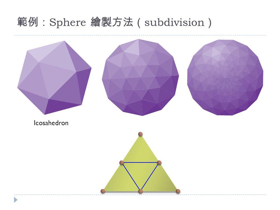 範例: Sphere 繪製方法( subdivision ) Icosahedron