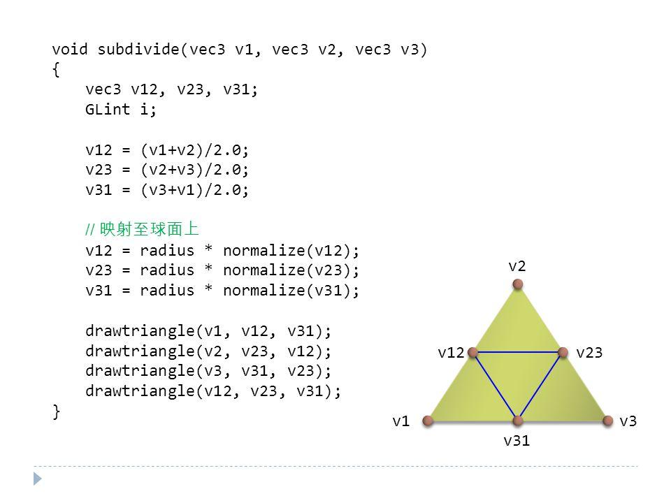 void subdivide(vec3 v1, vec3 v2, vec3 v3) { vec3 v12, v23, v31; GLint i; v12 = (v1+v2)/2.0; v23 = (v2+v3)/2.0; v31 = (v3+v1)/2.0; // 映射至球面上 v12 = radius * normalize(v12); v23 = radius * normalize(v23); v31 = radius * normalize(v31); drawtriangle(v1, v12, v31); drawtriangle(v2, v23, v12); drawtriangle(v3, v31, v23); drawtriangle(v12, v23, v31); } v1 v2 v3 v12 v23 v31