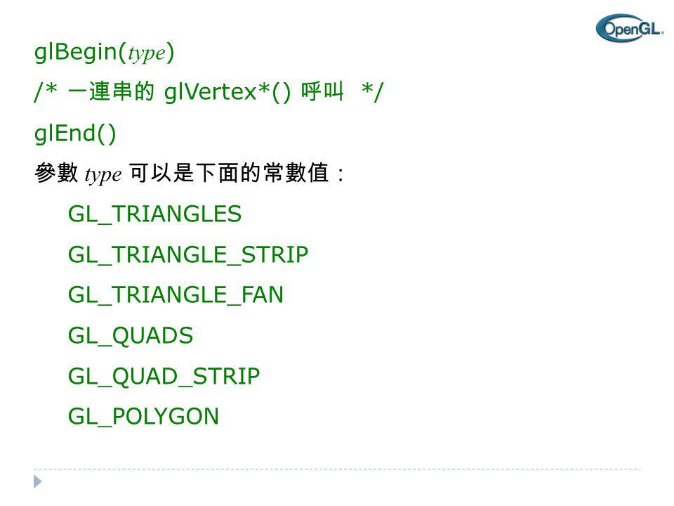 glBegin( type ) /* 一連串的 glVertex*() 呼叫 */ glEnd() 參數 type 可以是下面的常數值: GL_TRIANGLES GL_TRIANGLE_STRIP GL_TRIANGLE_FAN GL_QUADS GL_QUAD_STRIP GL_POLYGON