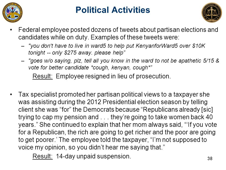 Federal employee posted dozens of tweets about partisan elections and candidates while on duty.
