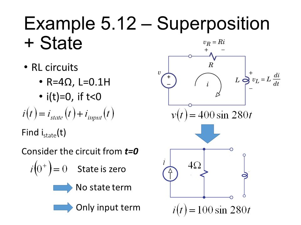 Example 5.12 – Superposition + State RL circuits R=4Ω, L=0.1H i(t)=0, if t<0 Consider the circuit from t=0 State is zero No state term Only input term Find i state (t)