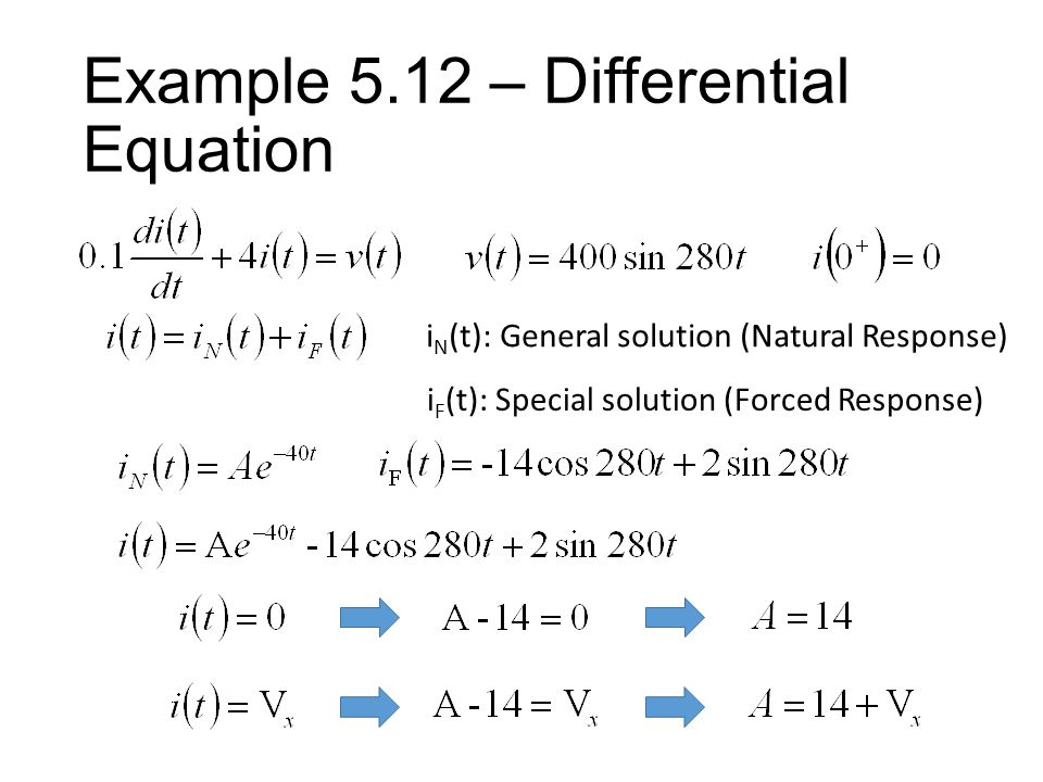 Example 5.11 – Differential Equation i N (t): General solution (Natural Response) i F (t): Special solution (Forced Response) Natural Response: Independent to the sources This circuit always has this term.