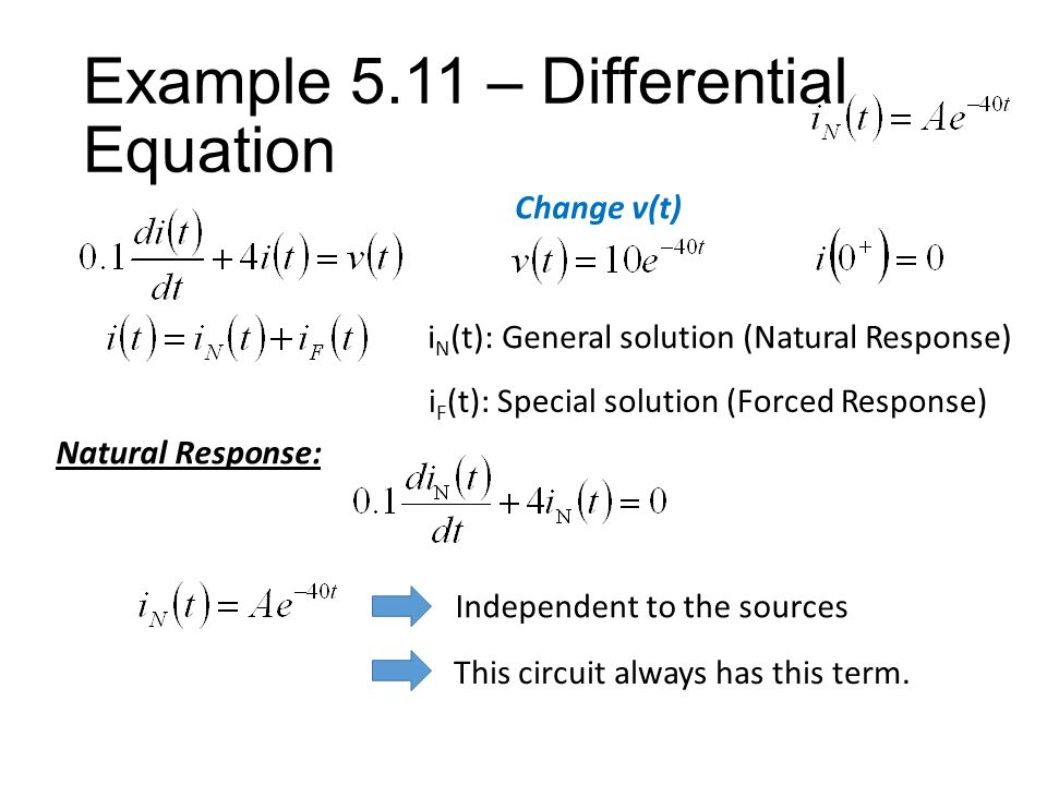 Example 5.11 – Differential Equation i N (t): General solution (Natural Response) i F (t): Special solution (Forced Response) Forced Response: If the form for i F (t) contains any term proportional to a component of the natural response, then that term must be multiplied by t.