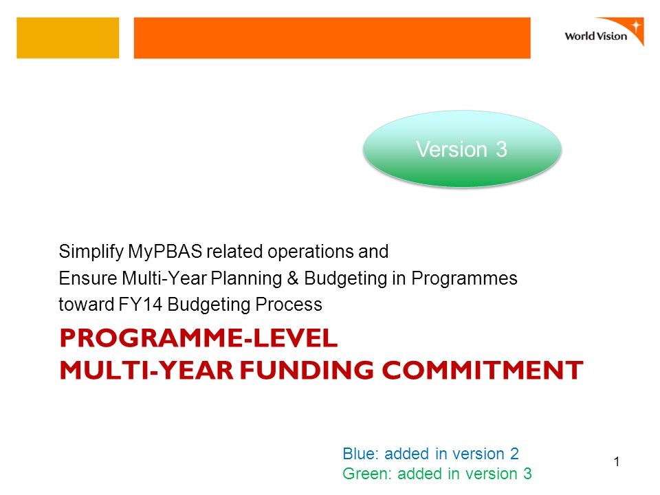 PROGRAMME-LEVEL MULTI-YEAR FUNDING COMMITMENT Simplify MyPBAS related operations and Ensure Multi-Year Planning & Budgeting in Programmes toward FY14 Budgeting Process 1 Version 3 Blue: added in version 2 Green: added in version 3
