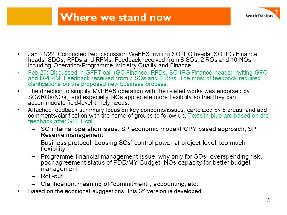 Where we stand now Jan 21/22: Conducted two discussion WeBEX inviting SO IPG heads, SO IPG Finance heads, SDOs, RFDs and RFMs.