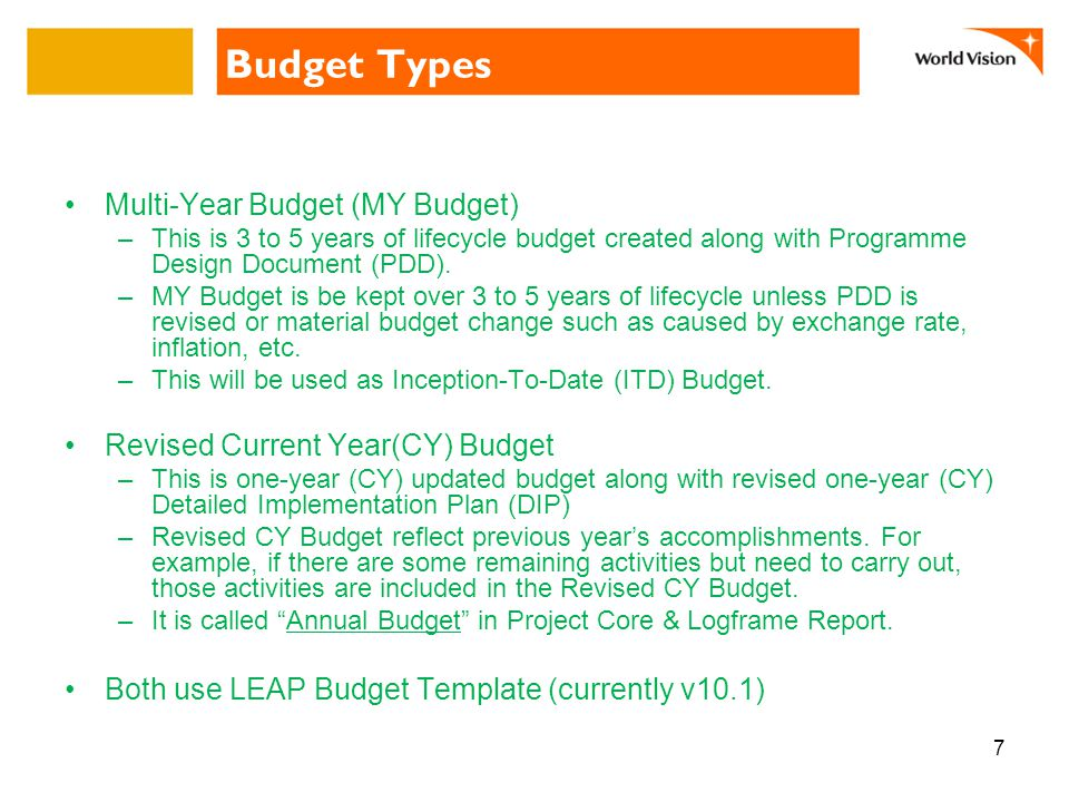 Budget Types Multi-Year Budget (MY Budget) –This is 3 to 5 years of lifecycle budget created along with Programme Design Document (PDD).