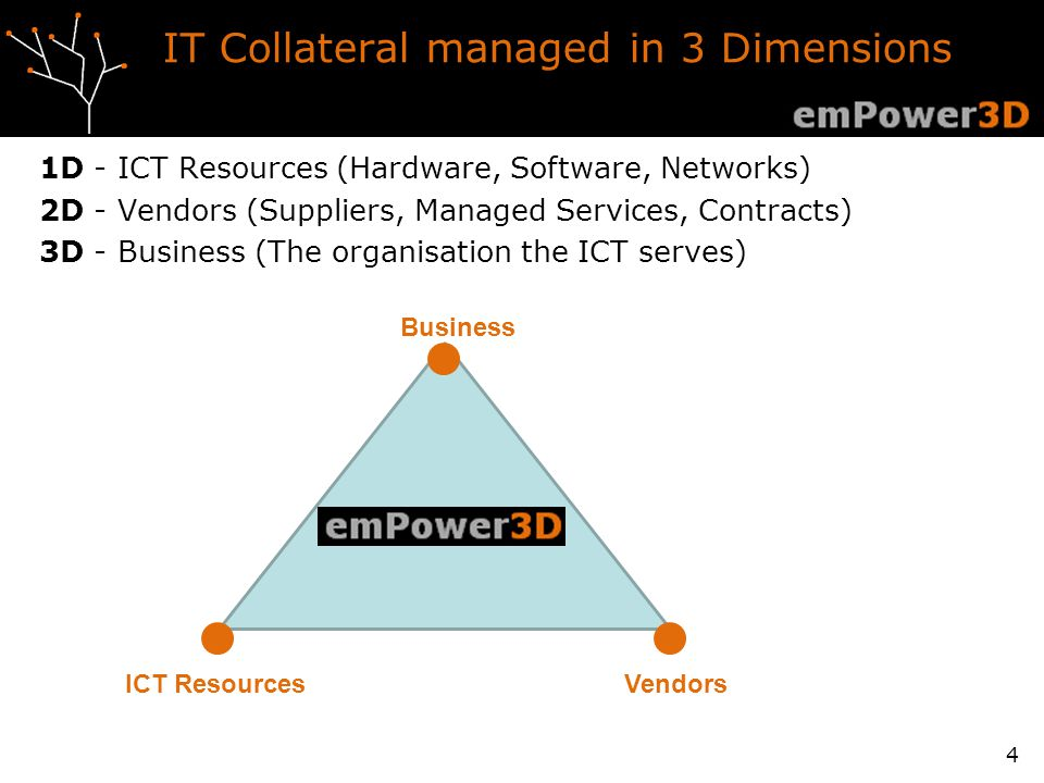 IT Collateral managed in 3 Dimensions 1D - ICT Resources (Hardware, Software, Networks) 2D - Vendors (Suppliers, Managed Services, Contracts) 3D - Business (The organisation the ICT serves) 4 Business ICT ResourcesVendors