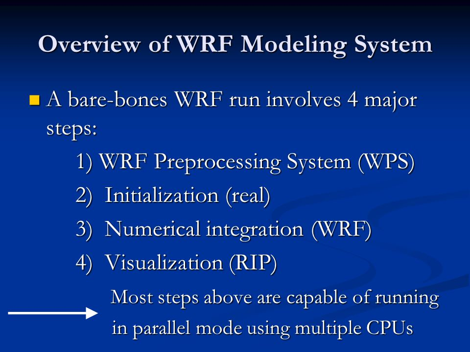 Overview of WRF Modeling System Green boxes = Bare-bones run