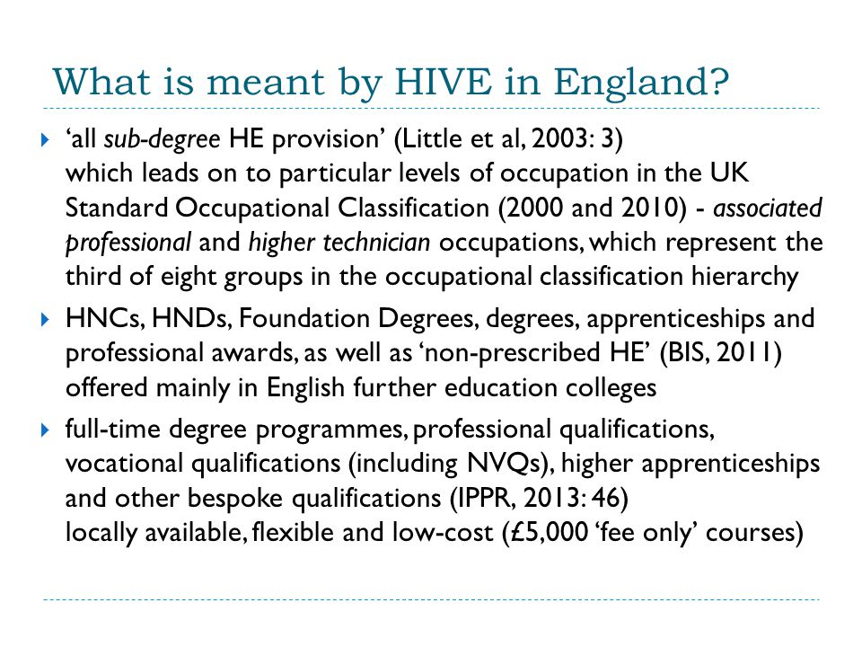 What is meant by HIVE in England.