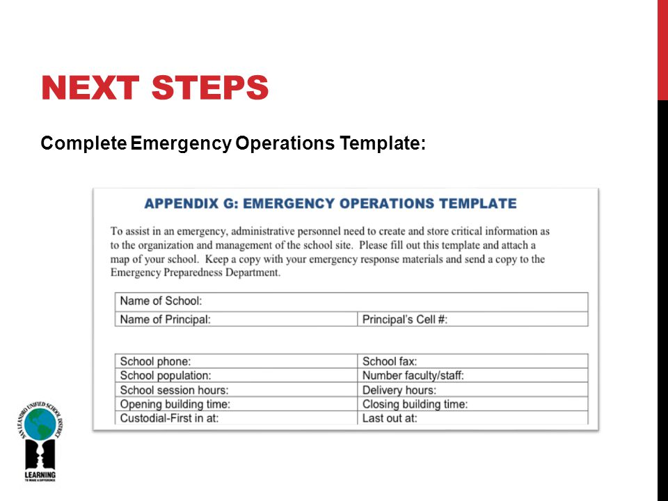 NEXT STEPS Complete Emergency Operations Template: