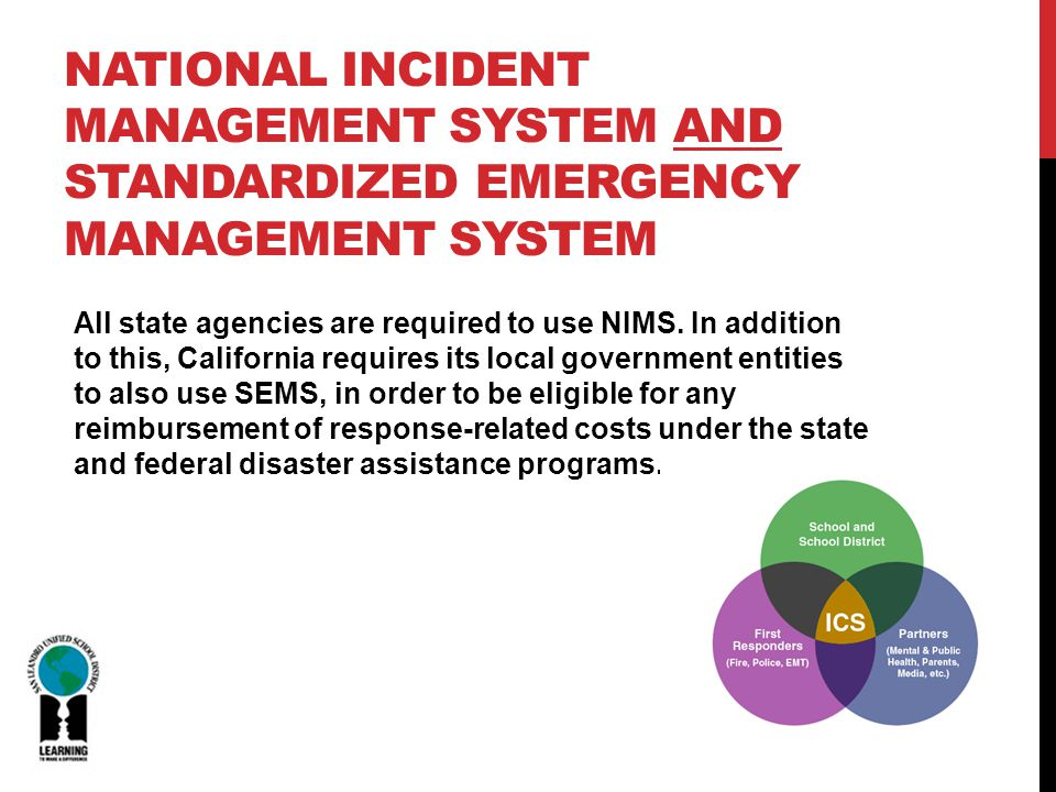 All state agencies are required to use NIMS.