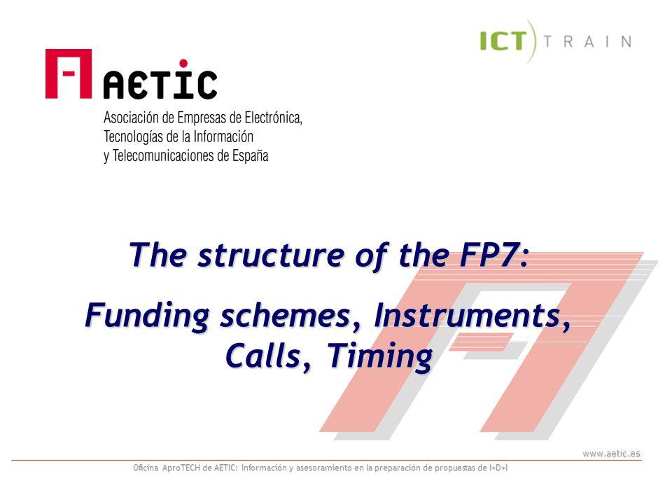 www.aetic.es Oficina AproTECH de AETIC: Información y asesoramiento en la preparación de propuestas de I+D+I The structure of the FP7: Funding schemes, Instruments, Calls, Timing