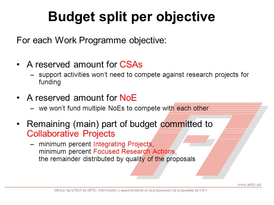 www.aetic.es Oficina AproTECH de AETIC: Información y asesoramiento en la preparación de propuestas de I+D+I Budget split per objective For each Work Programme objective: A reserved amount for CSAs –support activities won't need to compete against research projects for funding A reserved amount for NoE –we won't fund multiple NoEs to compete with each other Remaining (main) part of budget committed to Collaborative Projects –minimum percent Integrating Projects, minimum percent Focused Research Actions, the remainder distributed by quality of the proposals