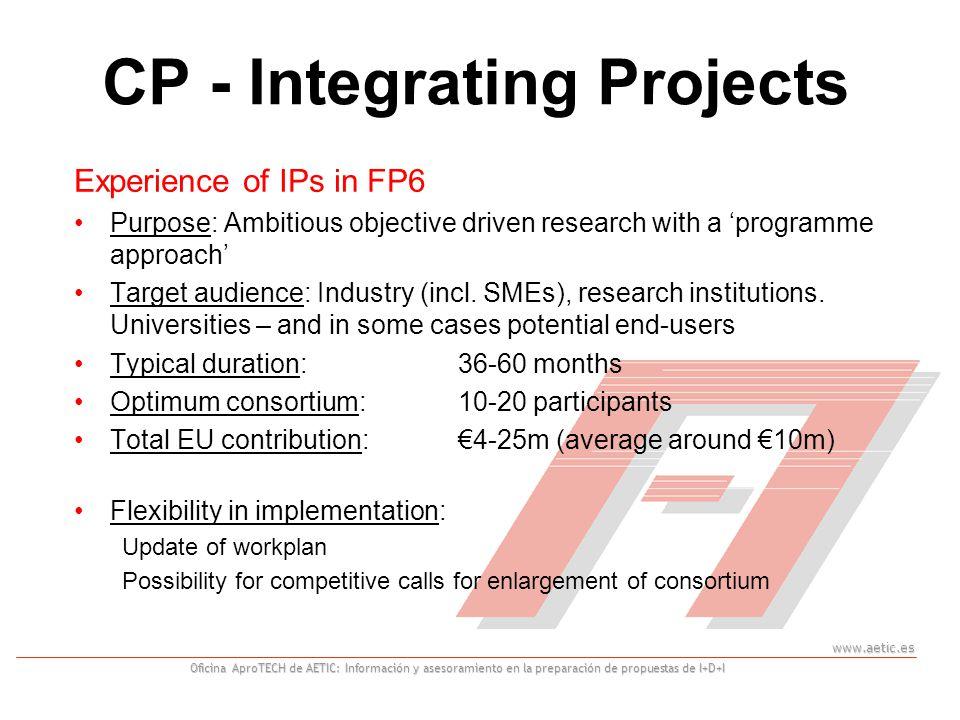 www.aetic.es Oficina AproTECH de AETIC: Información y asesoramiento en la preparación de propuestas de I+D+I Experience of IPs in FP6 Purpose: Ambitious objective driven research with a 'programme approach' Target audience: Industry (incl.