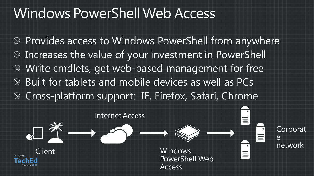 Client Internet Access Windows PowerShell Web Access Corporat e network