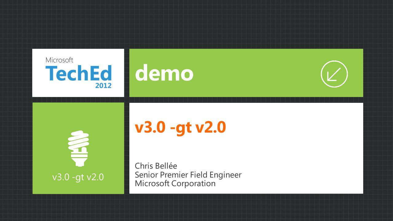 demo v3.0 -gt v2.0 Chris Bellée Senior Premier Field Engineer Microsoft Corporation