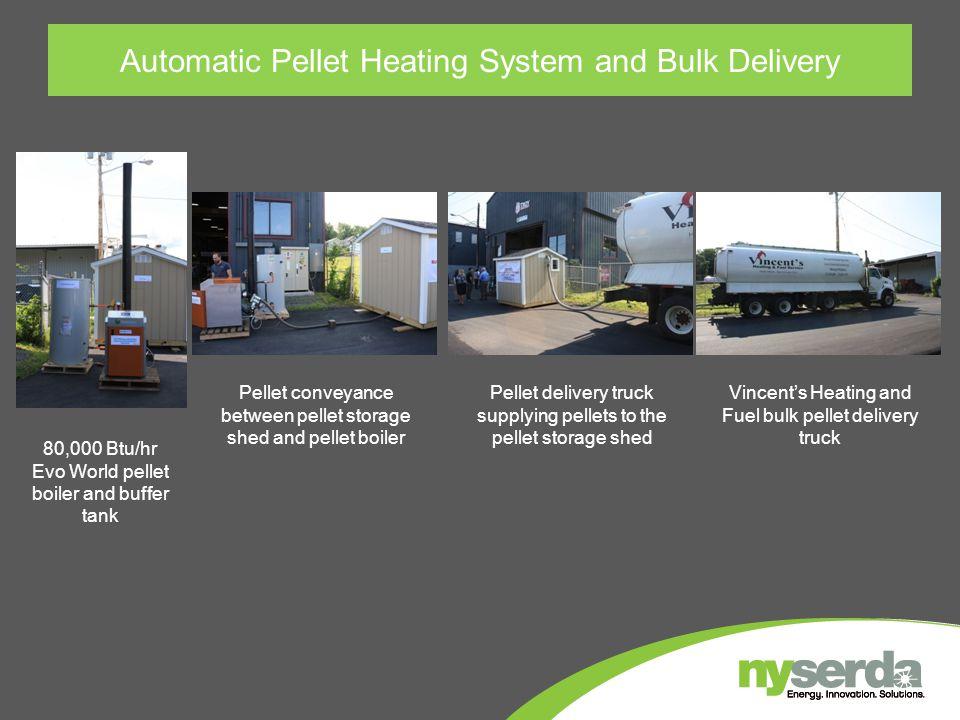 Automatic Pellet Heating System and Bulk Delivery 80,000 Btu/hr Evo World pellet boiler and buffer tank Pellet conveyance between pellet storage shed