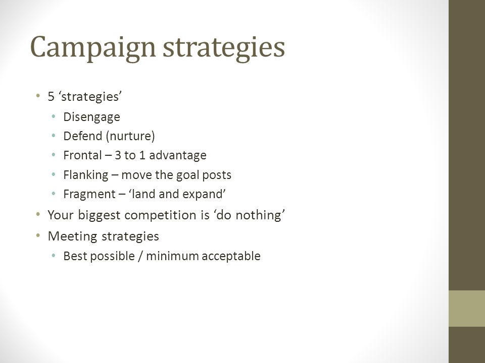 Campaign strategies 5 'strategies' Disengage Defend (nurture) Frontal – 3 to 1 advantage Flanking – move the goal posts Fragment – 'land and expand' Y