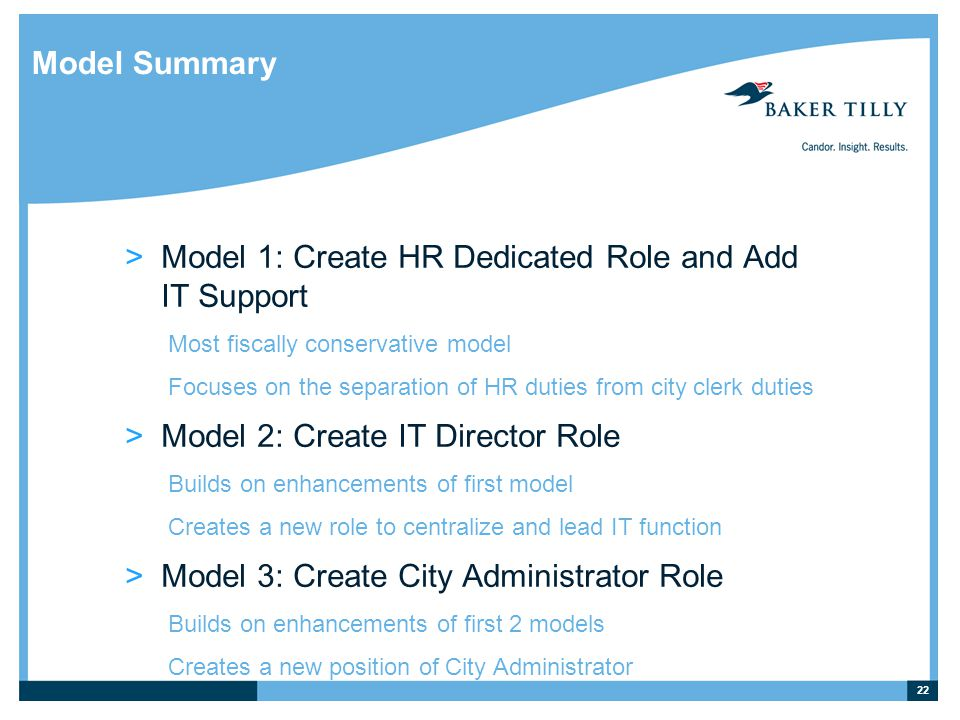 Model Summary >Model 1: Create HR Dedicated Role and Add IT Support Most fiscally conservative model Focuses on the separation of HR duties from city clerk duties >Model 2: Create IT Director Role Builds on enhancements of first model Creates a new role to centralize and lead IT function >Model 3: Create City Administrator Role Builds on enhancements of first 2 models Creates a new position of City Administrator 22
