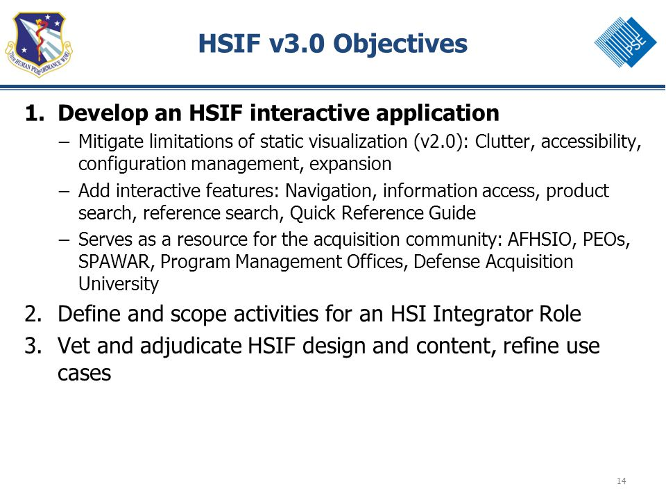 14 HSIF v3.0 Objectives 1.Develop an HSIF interactive application – Mitigate limitations of static visualization (v2.0): Clutter, accessibility, configuration management, expansion – Add interactive features: Navigation, information access, product search, reference search, Quick Reference Guide – Serves as a resource for the acquisition community: AFHSIO, PEOs, SPAWAR, Program Management Offices, Defense Acquisition University 2.Define and scope activities for an HSI Integrator Role 3.Vet and adjudicate HSIF design and content, refine use cases