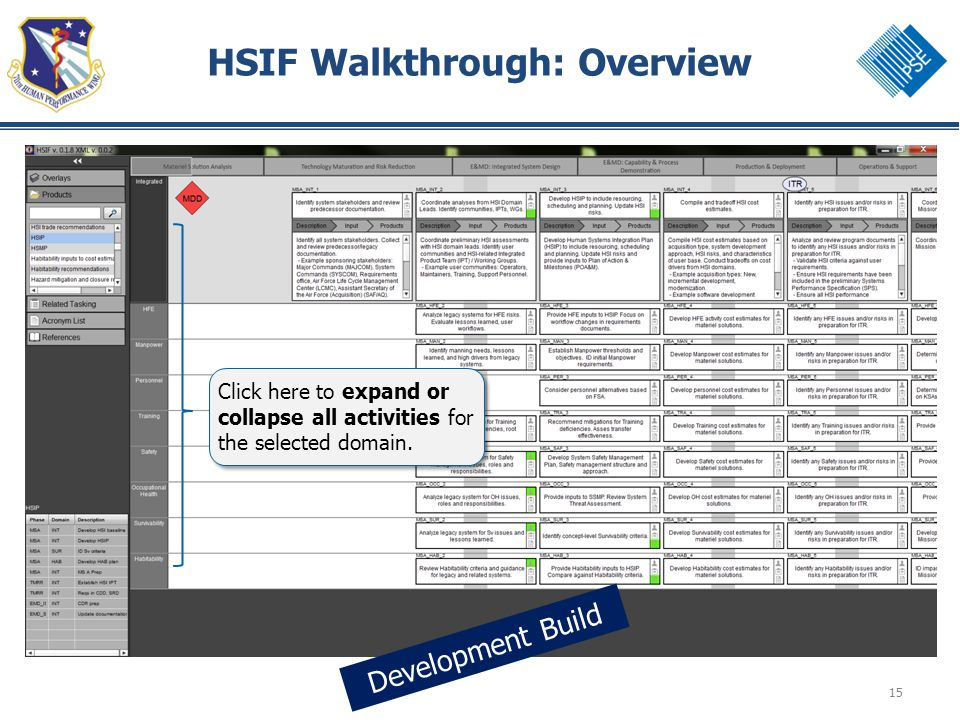 15 HSIF Walkthrough: Overview Development Build Click here to expand or collapse all activities for the selected domain.