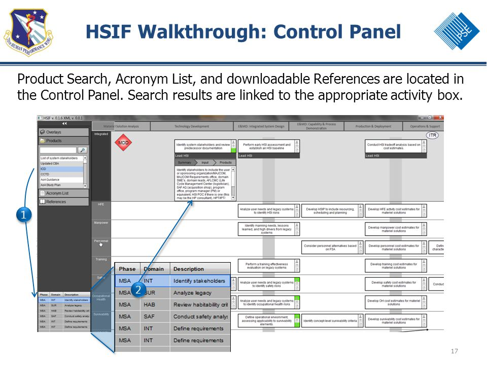 17 HSIF Walkthrough: Control Panel Product Search, Acronym List, and downloadable References are located in the Control Panel.