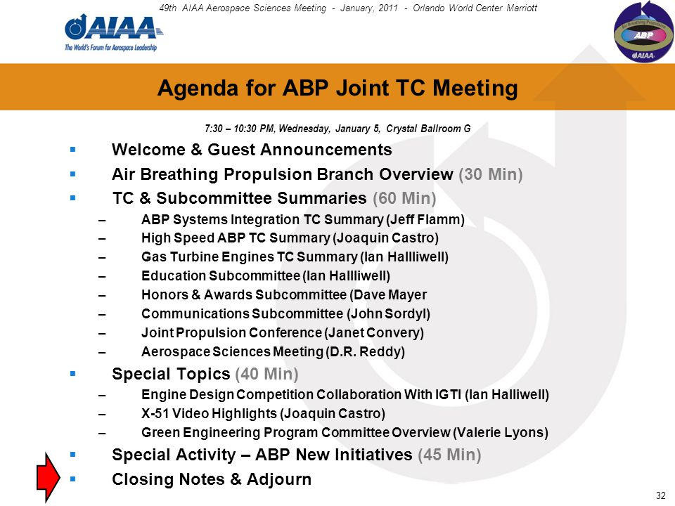32 Agenda for ABP Joint TC Meeting  Welcome & Guest Announcements  Air Breathing Propulsion Branch Overview (30 Min)  TC & Subcommittee Summaries (