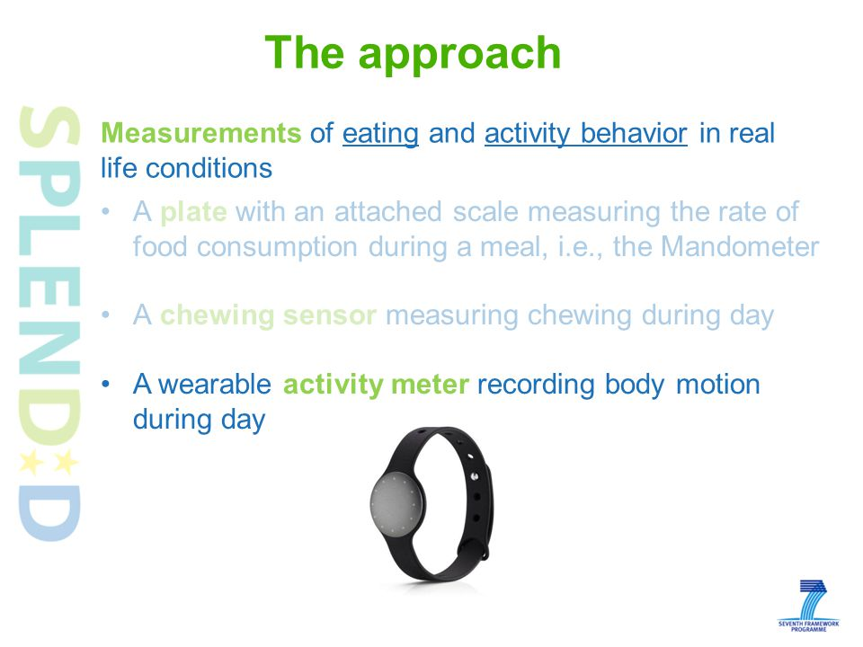 The approach A plate with an attached scale measuring the rate of food consumption during a meal, i.e., the Mandometer A chewing sensor measuring chewing during day A wearable activity meter recording body motion during day Measurements of eating and activity behavior in real life conditions