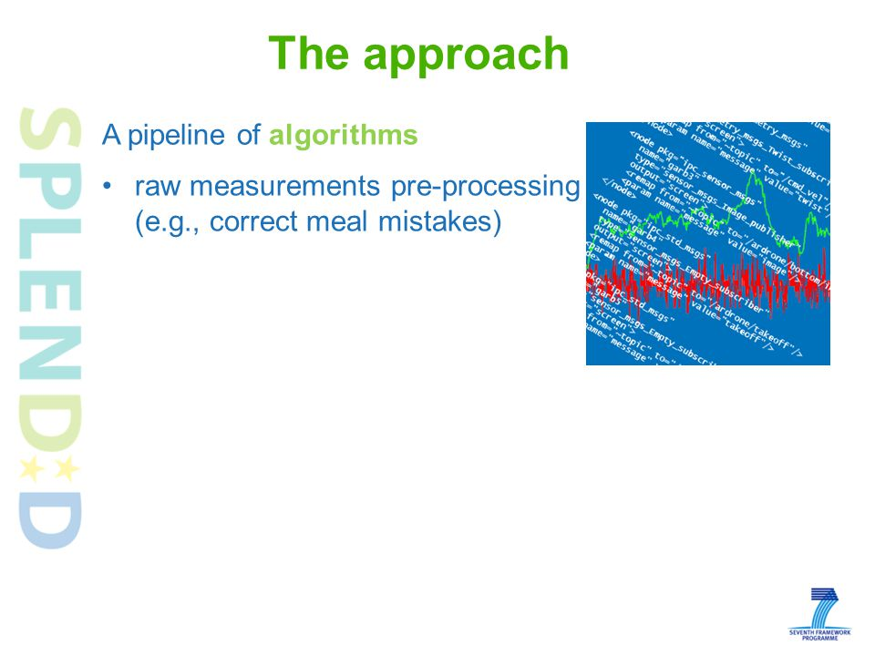 raw measurements pre-processing (e.g., correct meal mistakes) feature extraction (e.g., detect chewing events) indicators quantification (e.g., detect an ongoing meal based on chewing events) assessment of risk for obesity and eating disorders based on eating and activity behaviour patterns and personal profile data The approach A pipeline of algorithms