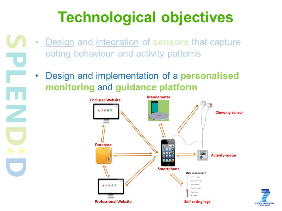 Design and integration of sensors that capture eating behaviour and activity patterns Design and implementation of a personalised monitoring and guidance platform