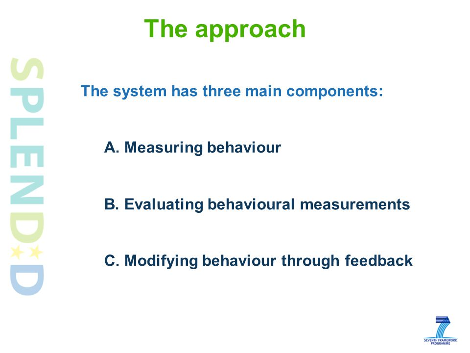 The approach The system has three main components: A.