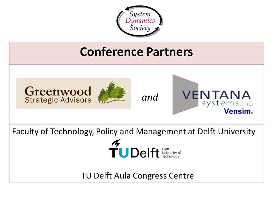 Conference Partners and Faculty of Technology, Policy and Management at Delft University TU Delft Aula Congress Centre