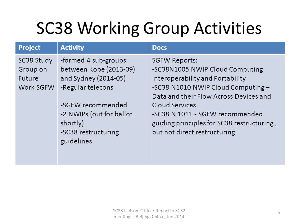 SC32 considerations SC32 SG Metadata Cloud Computing: – SC38 Vocabulary – take into consideration DIS 17788 in use of 'services' functionality and terminology e.g.
