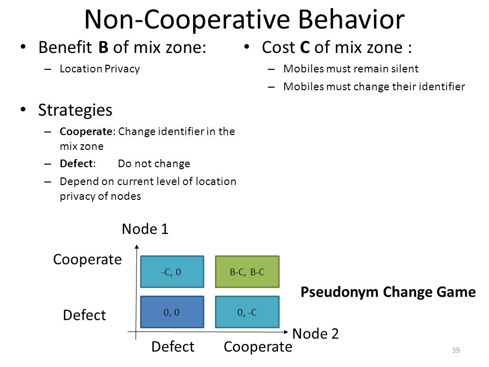Non-Cooperative Behavior Benefit B of mix zone: – Location Privacy Strategies – Cooperate: Change identifier in the mix zone – Defect: Do not change – Depend on current level of location privacy of nodes Cost C of mix zone : – Mobiles must remain silent – Mobiles must change their identifier 39 Cooperate Defect -C, 0B-C, B-C 0, 00, -C Node 1 Node 2 Pseudonym Change Game