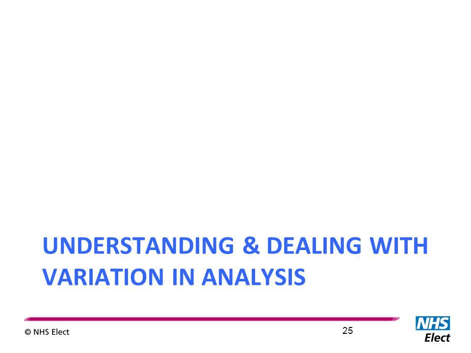 UNDERSTANDING & DEALING WITH VARIATION IN ANALYSIS 25