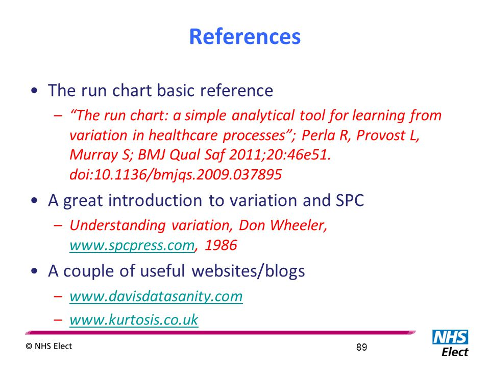 "References The run chart basic reference –""The run chart: a simple analytical tool for learning from variation in healthcare processes""; Perla R, Prov"