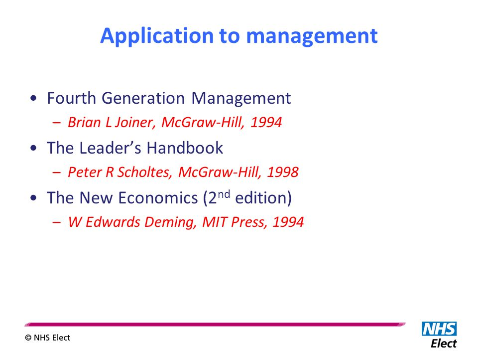 Application to management Fourth Generation Management –Brian L Joiner, McGraw-Hill, 1994 The Leader's Handbook –Peter R Scholtes, McGraw-Hill, 1998 The New Economics (2 nd edition) –W Edwards Deming, MIT Press, 1994